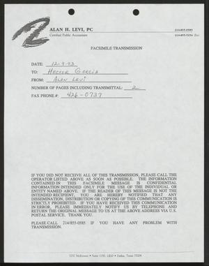 Primary view of object titled '[Fax from Alan Levi to Hector Garcia, December 9, 1993]'.