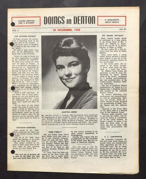 Primary view of object titled 'Doings in Denton (Denton, Tex.), Vol. 2, No. 12, Ed. 1, December 1958'.