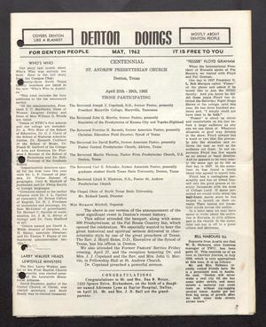 Primary view of object titled 'Denton Doings (Denton, Tex.), Ed. 1 Tuesday, May 1, 1962'.