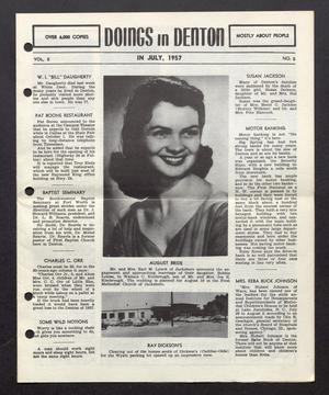 Primary view of object titled 'Doings in Denton (Denton, Tex.), Vol. 2, No. 5, Ed. 1, July 1957'.