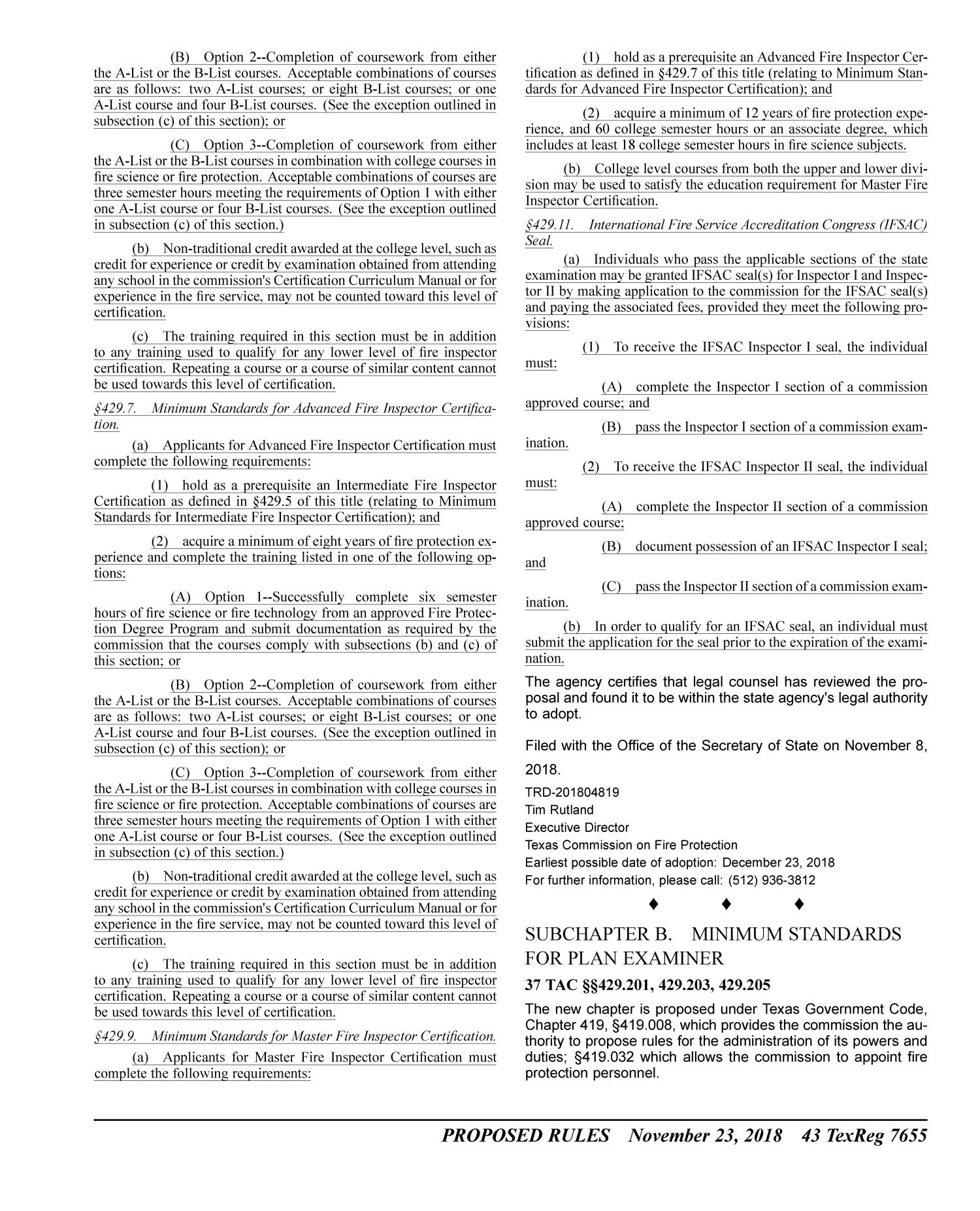 Texas Register, Volume 43, Number 47, Pages 7599-7742