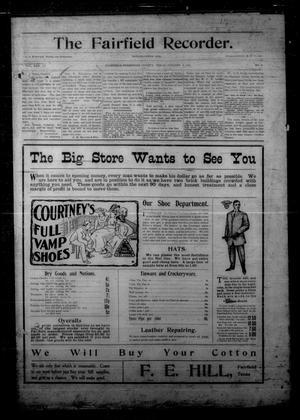 The Fairfield Recorder. (Fairfield, Tex.), Vol. 31, No. 1, Ed. 1 Friday, October 5, 1906