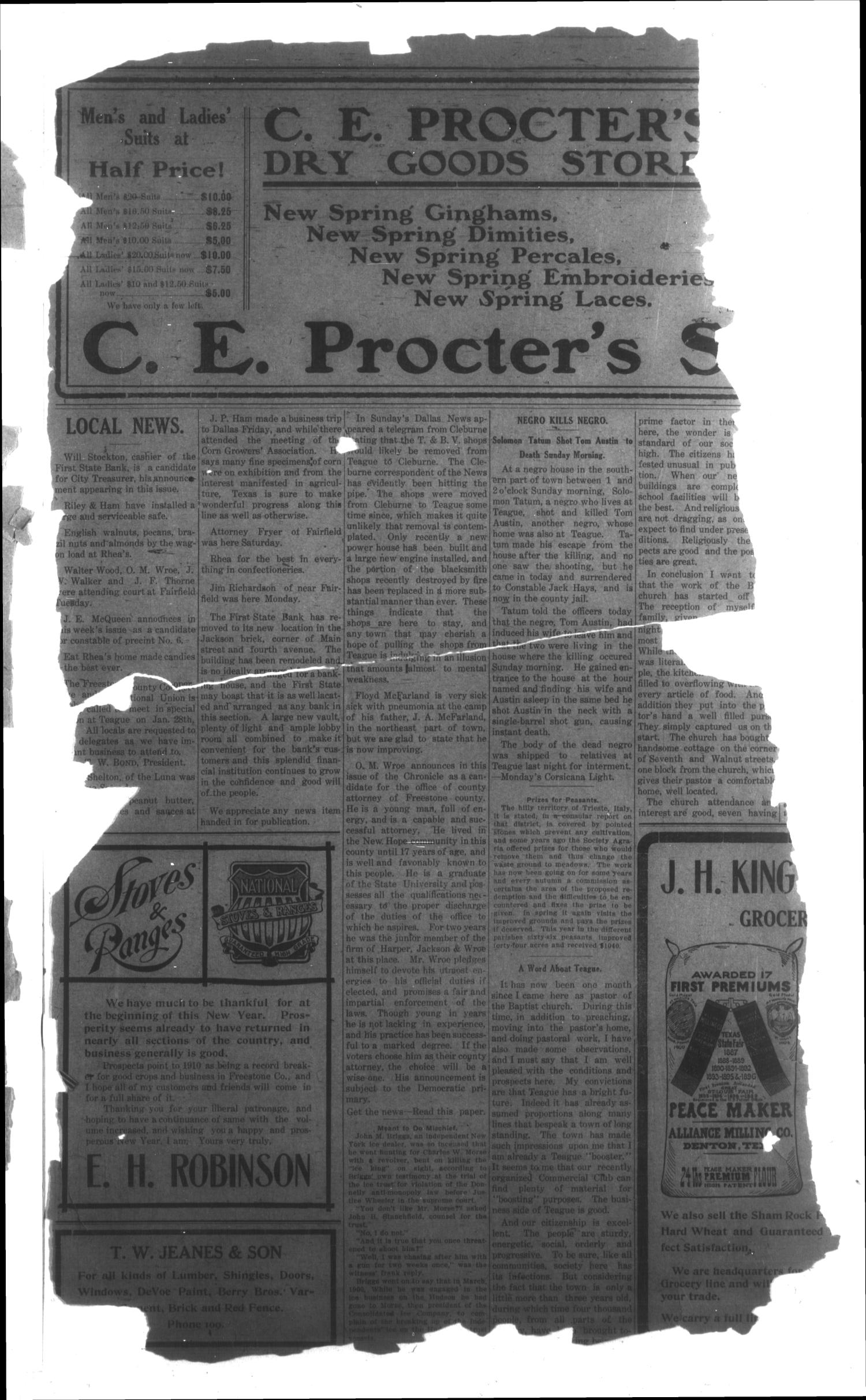 The Teague Chronicle. (Teague, Tex.), Vol. 4, No. 27, Ed. 1 Friday, January 21, 1910                                                                                                      [Sequence #]: 3 of 6