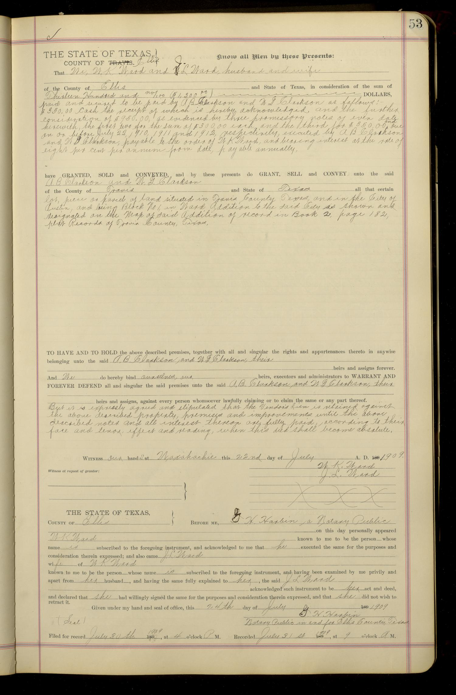 Travis County Deed Records: Deed Record 155 - Page 53 ...