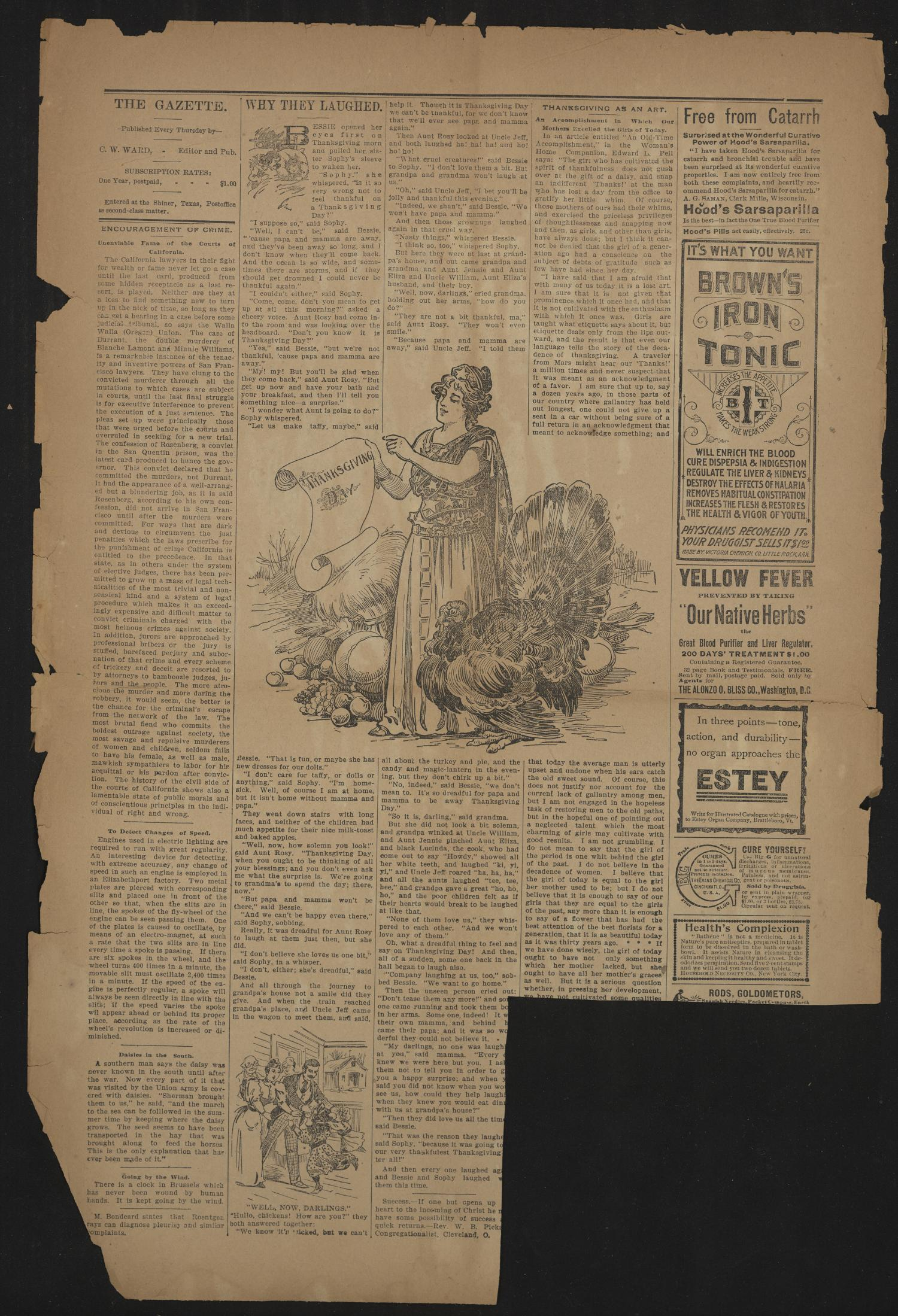 Shiner Gazette. (Shiner, Tex.), Vol. 5, No. 26, Ed. 1 Wednesday, November 24, 1897                                                                                                      [Sequence #]: 2 of 8