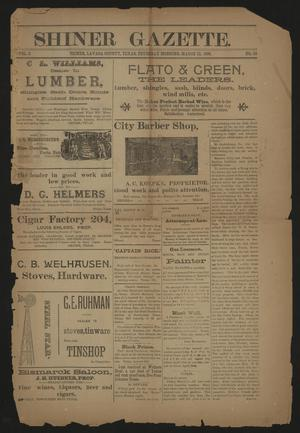 Primary view of object titled 'Shiner Gazette. (Shiner, Tex.), Vol. 3, No. 40, Ed. 1 Thursday, March 12, 1896'.