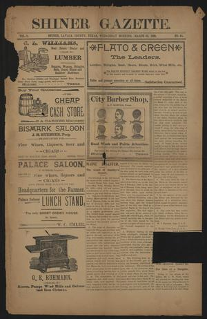 Primary view of object titled 'Shiner Gazette. (Shiner, Tex.), Vol. 5, No. 44, Ed. 1 Wednesday, March 30, 1898'.