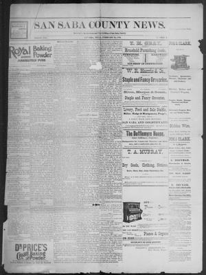 Primary view of object titled 'The San Saba County News. (San Saba, Tex.), Vol. 19, No. 12, Ed. 1, Friday, February 10, 1893'.