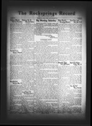 Primary view of object titled 'The Rocksprings Record and Edwards County Leader (Rocksprings, Tex.), Vol. 12, No. 23, Ed. 1 Friday, May 16, 1930'.