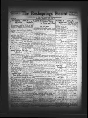 Primary view of The Rocksprings Record and Edwards County Leader (Rocksprings, Tex.), Vol. 13, No. 38, Ed. 1 Friday, August 28, 1931