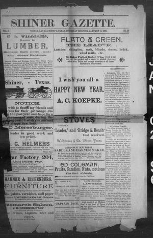 Primary view of object titled 'Shiner Gazette. (Shiner, Tex.), Vol. 3, No. 30, Ed. 1, Thursday, January 2, 1896'.