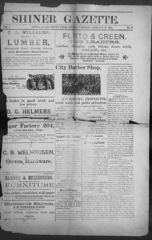 Primary view of object titled 'Shiner Gazette. (Shiner, Tex.), Vol. 3, No. 37, Ed. 1, Thursday, February 20, 1896'.