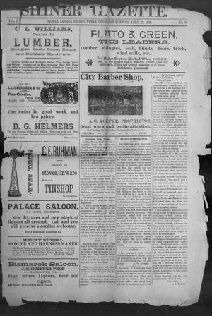 Primary view of object titled 'Shiner Gazette. (Shiner, Tex.), Vol. 3, No. 46, Ed. 1, Thursday, April 23, 1896'.