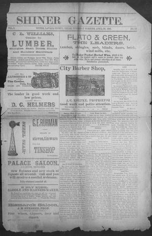 Primary view of object titled 'Shiner Gazette. (Shiner, Tex.), Vol. 3, No. 47, Ed. 1, Thursday, April 30, 1896'.