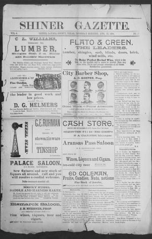 Primary view of object titled 'Shiner Gazette. (Shiner, Tex.), Vol. 4, No. 10, Ed. 1, Thursday, August 13, 1896'.