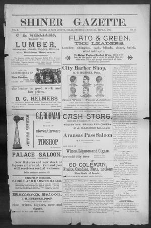 Primary view of object titled 'Shiner Gazette. (Shiner, Tex.), Vol. 4, No. 14, Ed. 1, Thursday, September 3, 1896'.