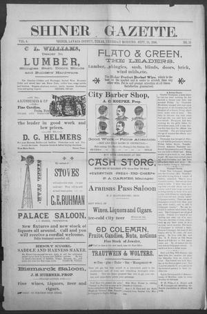 Primary view of object titled 'Shiner Gazette. (Shiner, Tex.), Vol. 4, No. 15, Ed. 1, Thursday, September 10, 1896'.
