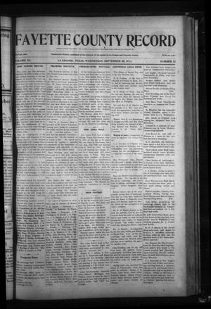 Primary view of object titled 'Fayette County Record (La Grange, Tex.), Vol. 3, No. 12, Ed. 1 Wednesday, September 20, 1911'.