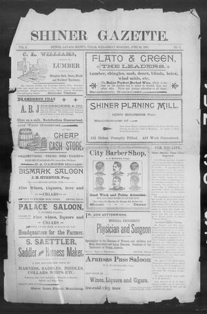 Primary view of object titled 'Shiner Gazette. (Shiner, Tex.), Vol. 5, No. 5, Ed. 1, Wednesday, June 30, 1897'.