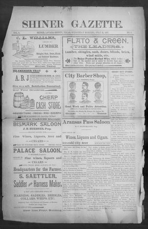 Primary view of object titled 'Shiner Gazette. (Shiner, Tex.), Vol. 5, No. 8, Ed. 1, Wednesday, July 21, 1897'.