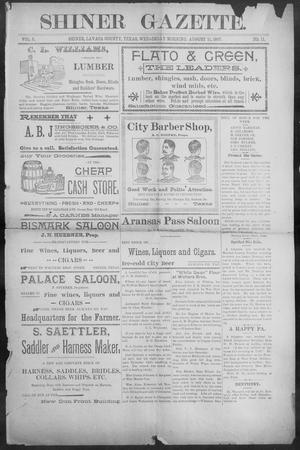 Primary view of object titled 'Shiner Gazette. (Shiner, Tex.), Vol. 5, No. 11, Ed. 1, Wednesday, August 11, 1897'.