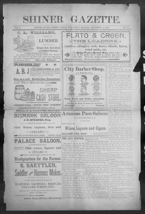 Primary view of object titled 'Shiner Gazette. (Shiner, Tex.), Vol. 5, No. 15, Ed. 1, Wednesday, September 8, 1897'.