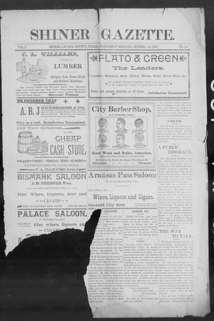 Primary view of object titled 'Shiner Gazette. (Shiner, Tex.), Vol. 5, No. 20, Ed. 1, Wednesday, October 13, 1897'.