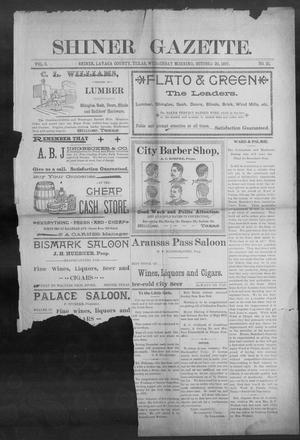 Primary view of object titled 'Shiner Gazette. (Shiner, Tex.), Vol. 5, No. 21, Ed. 1, Wednesday, October 20, 1897'.