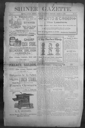 Primary view of object titled 'Shiner Gazette. (Shiner, Tex.), Vol. 5, No. 43, Ed. 1, Wednesday, March 23, 1898'.