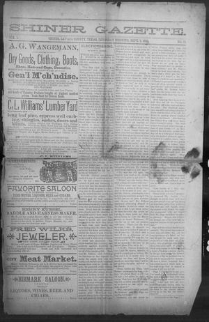 Primary view of object titled 'Shiner Gazette. (Shiner, Tex.), Vol. 1, No. 10, Ed. 1, Wednesday, September 7, 1893'.