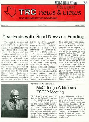 Primary view of object titled 'TRC News & Views, Volume 4, Number 1, January 1982'.
