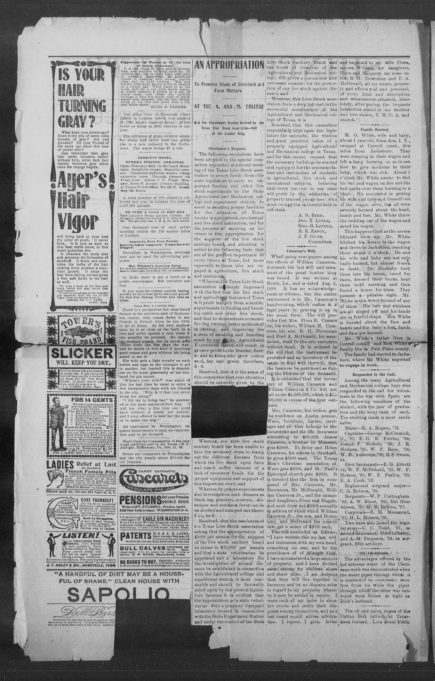 Shiner Gazette. (Shiner, Tex.), Vol. 6, No. 39, Ed. 1, Wednesday, February 22, 1899                                                                                                      [Sequence #]: 2 of 8