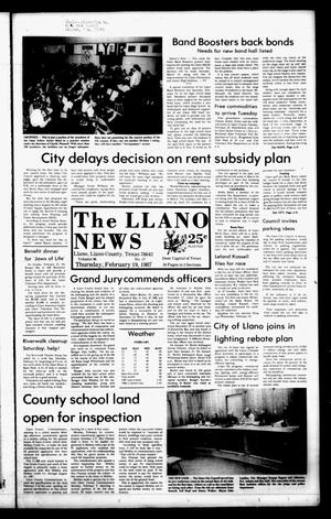 Primary view of object titled 'The Llano News (Llano, Tex.), Vol. 96, No. 17, Ed. 1 Thursday, February 19, 1987'.