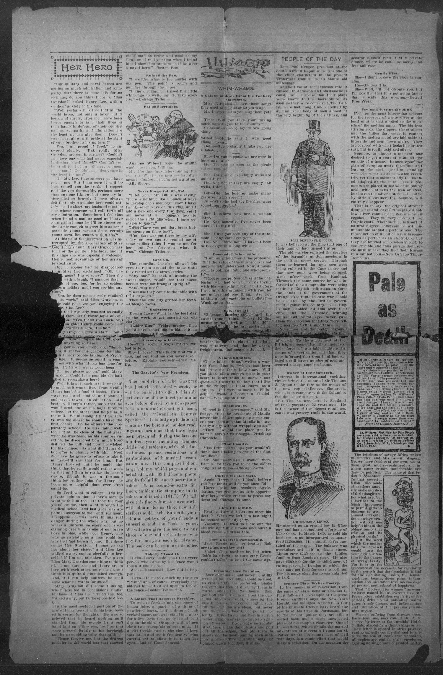 Shiner Gazette. (Shiner, Tex.), Vol. 7, No. 9, Ed. 1, Wednesday, August 2, 1899                                                                                                      [Sequence #]: 2 of 8