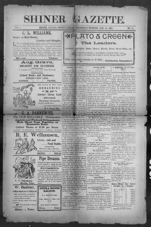 Primary view of object titled 'Shiner Gazette. (Shiner, Tex.), Vol. 7, No. 11, Ed. 1, Wednesday, August 16, 1899'.