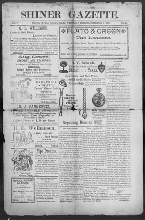 Primary view of object titled 'Shiner Gazette. (Shiner, Tex.), Vol. 7, No. 15, Ed. 1, Wednesday, September 6, 1899'.