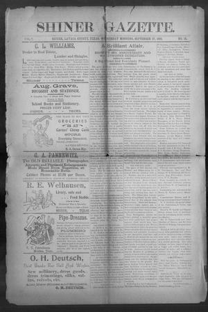 Primary view of object titled 'Shiner Gazette. (Shiner, Tex.), Vol. 7, No. 18, Ed. 1, Wednesday, September 27, 1899'.