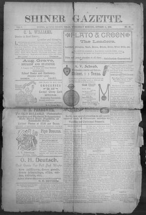 Primary view of object titled 'Shiner Gazette. (Shiner, Tex.), Vol. 7, No. 20, Ed. 1, Wednesday, October 11, 1899'.