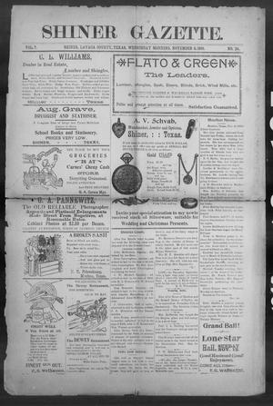 Primary view of object titled 'Shiner Gazette. (Shiner, Tex.), Vol. 7, No. 24, Ed. 1, Wednesday, November 8, 1899'.