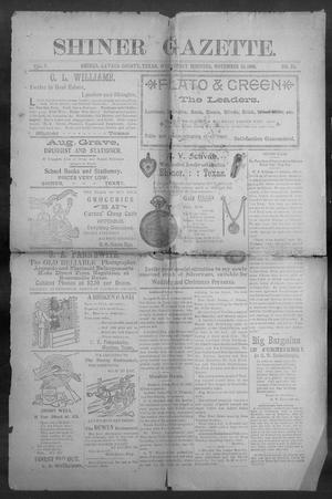 Primary view of object titled 'Shiner Gazette. (Shiner, Tex.), Vol. 7, No. 25, Ed. 1, Wednesday, November 15, 1899'.