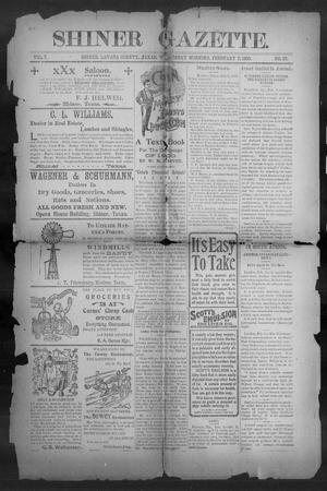 Primary view of object titled 'Shiner Gazette. (Shiner, Tex.), Vol. 7, No. 37, Ed. 1, Wednesday, February 7, 1900'.