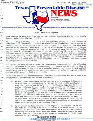 Primary view of object titled 'Texas Preventable Disease News, Volume 45, Number 34, August 24, 1985'.