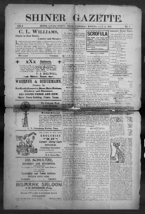 Primary view of object titled 'Shiner Gazette. (Shiner, Tex.), Vol. 8, No. 7, Ed. 1, Wednesday, July 11, 1900'.
