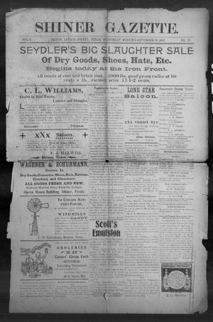 Primary view of object titled 'Shiner Gazette. (Shiner, Tex.), Vol. 8, No. 17, Ed. 1, Wednesday, September 19, 1900'.