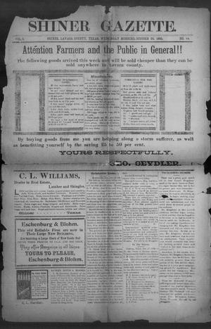 Primary view of object titled 'Shiner Gazette. (Shiner, Tex.), Vol. 8, No. 22, Ed. 1, Wednesday, October 24, 1900'.