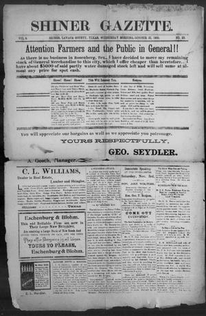 Primary view of object titled 'Shiner Gazette. (Shiner, Tex.), Vol. 8, No. 23, Ed. 1, Wednesday, October 31, 1900'.