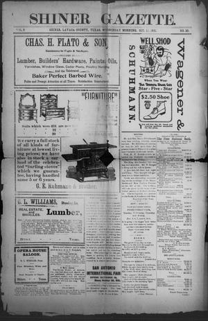 Primary view of object titled 'Shiner Gazette. (Shiner, Tex.), Vol. 9, No. 20, Ed. 1, Wednesday, October 16, 1901'.