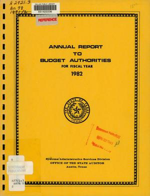 Primary view of object titled 'Texas State Auditor Systems/Administrative Services Division Annual Report: 1982'.