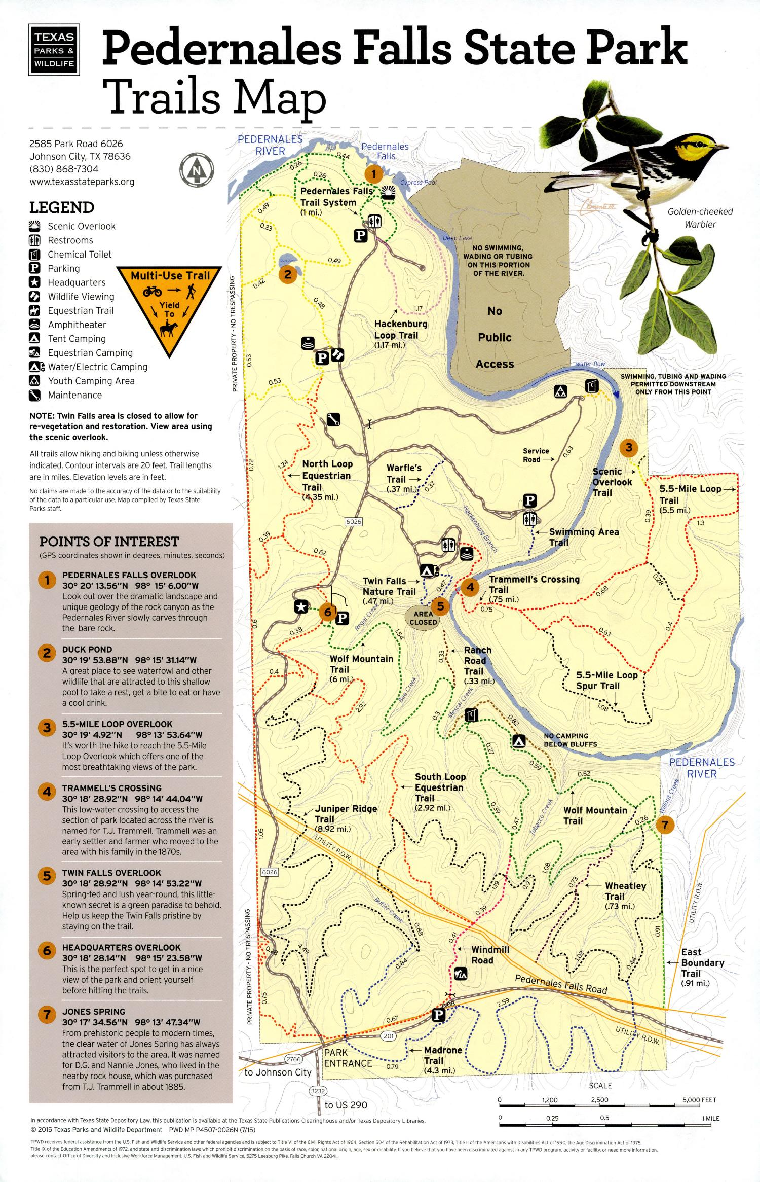 Pedernales Falls State Park Trails Map, Map of the Pedernales Falls State Park outlining hiking trails and highlighting activities, facilities, and other features such as bathrooms, lodgings, water/electric, etc. It also contains general information for the park and for the Texas Parks and Wildlife Department.,