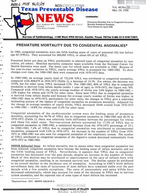 Primary view of object titled 'Texas Preventable Disease News, Volume 46, Number 21, May 24, 1986'.